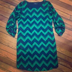 Green and Blue Chevron dress